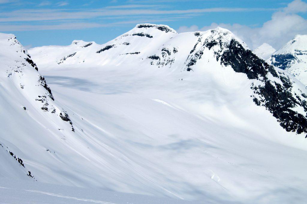Alternativ rute til Uranostinden over Mjølkedalsbreen.