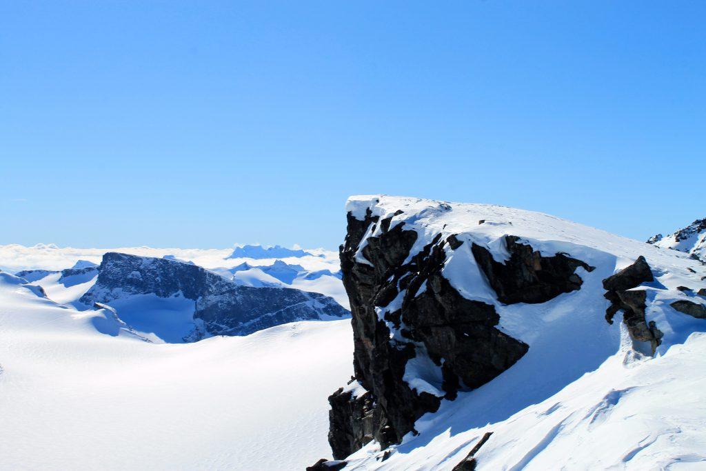 Utsikt fra Keilhaus topp med Svellnosbrean under oss.