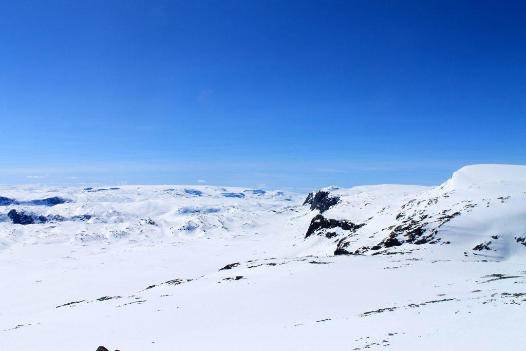 Den vestlige delen av Hallingskarvet med utsikt mot Hardangerjøkulen.