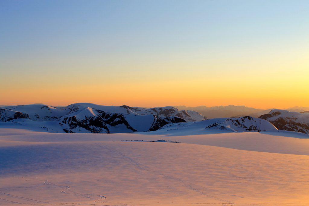 Solnedgangen på Jostedalsbreen er sjelden flott. Her fra Brenibba.