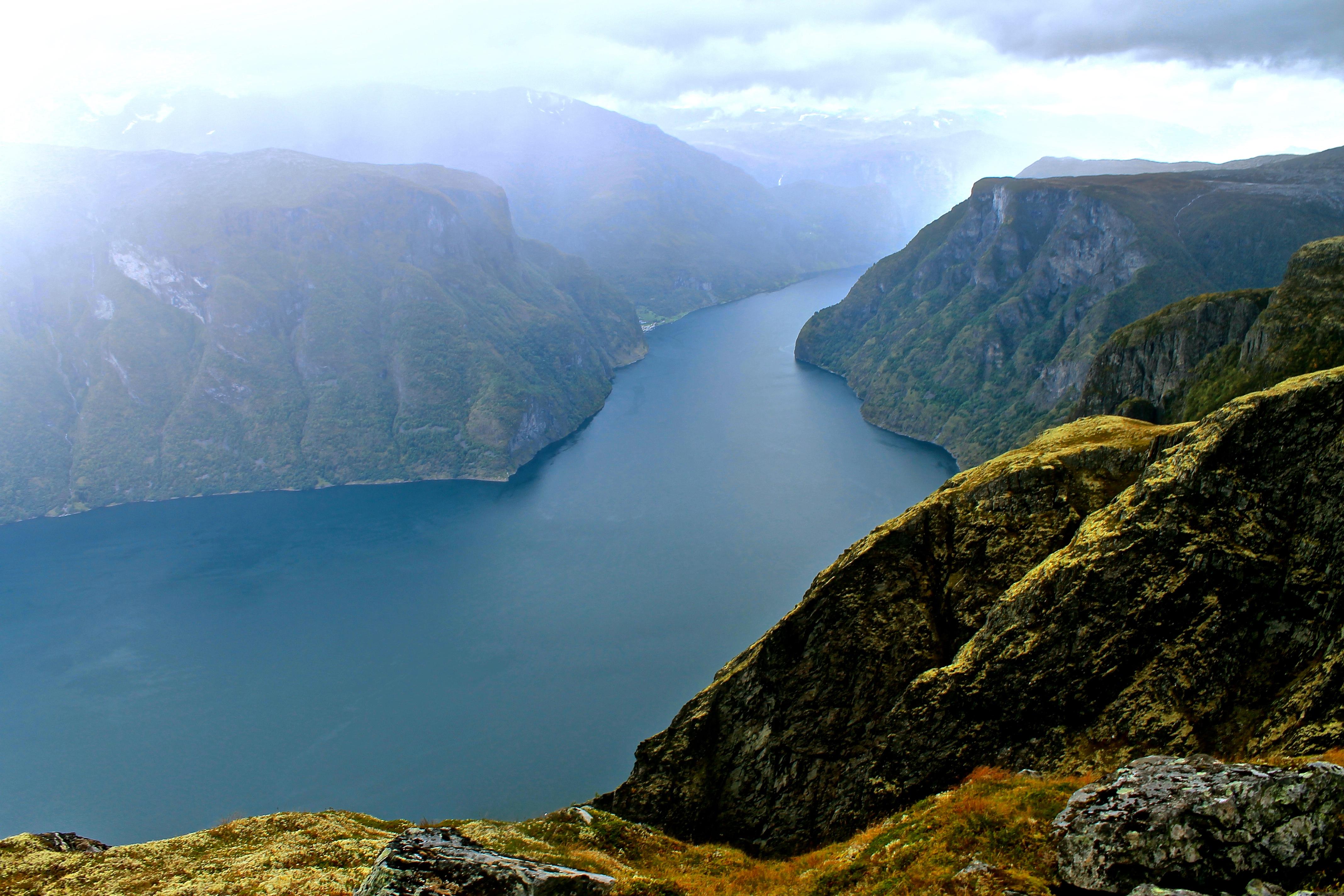 Aurlandsfjorden retning nordover, sett fra Prest.