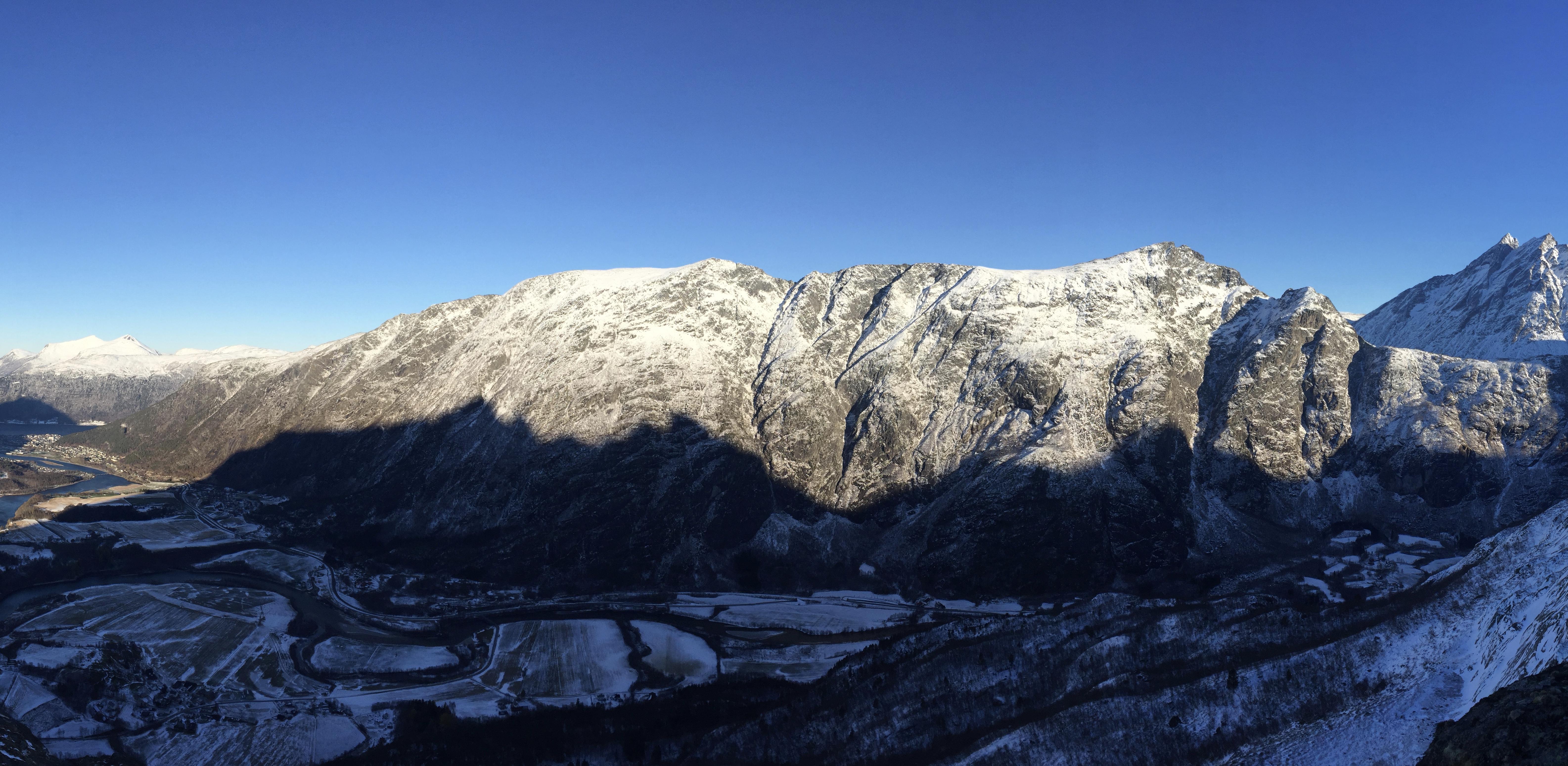 Romsdalseggen er den mest gåtte turen i Romsdalen. Blånebba til høyre.