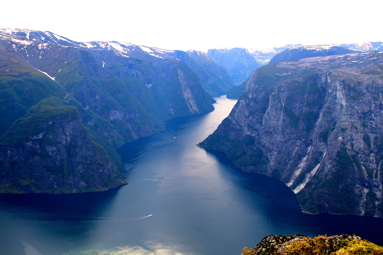 Utsikt fra Kalvsnesnosi inn i Nærøyfjorden mot Bakkanosi.