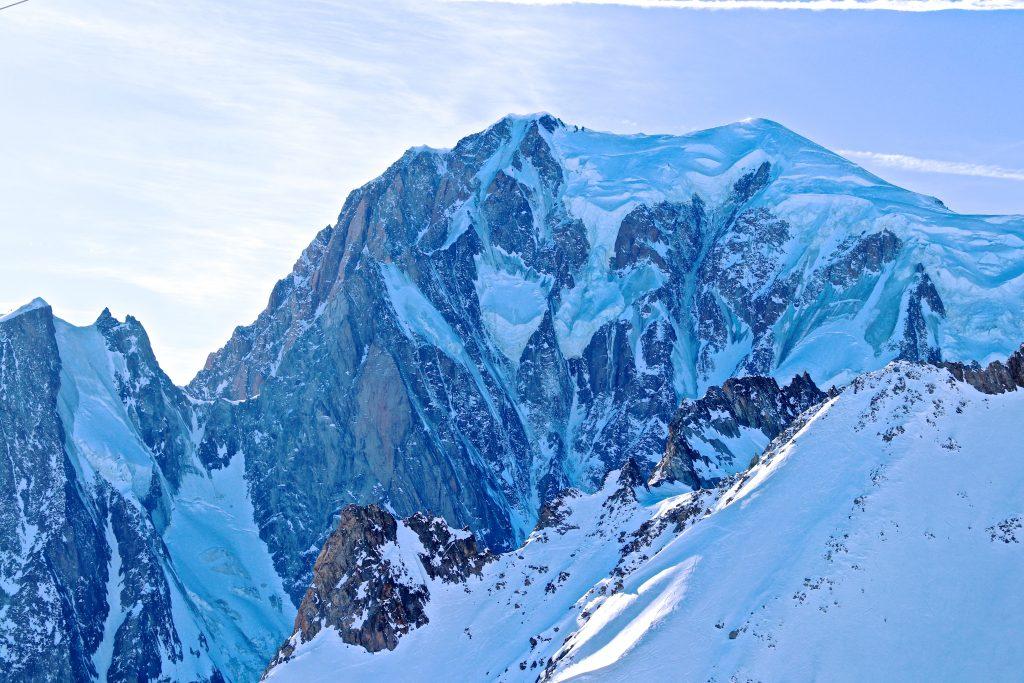 Toppen av Mont Blanc (4.808 moh) sett fra Helbronner.