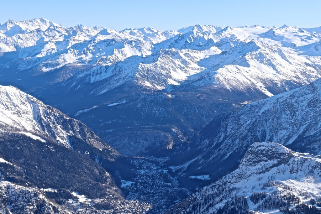 The Italian town Courmayeur seen from Pointe Helbronner (3.462 moh).