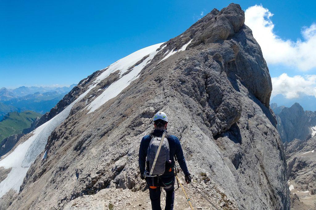 Vestryggen opp Marmolada har luftige og vakre omgivelser.