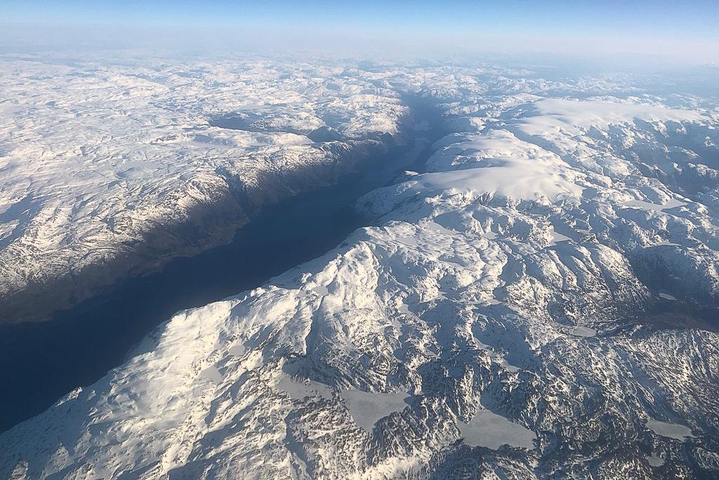 Sørfjorden og Folgefonnhalvøya sett fra luften.