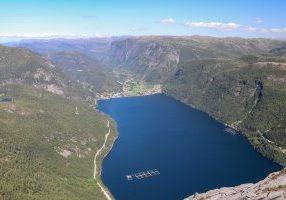 Utsikt fra Fløyen (766 moh) ned mot Vadheimsfjorden og Vadheim.