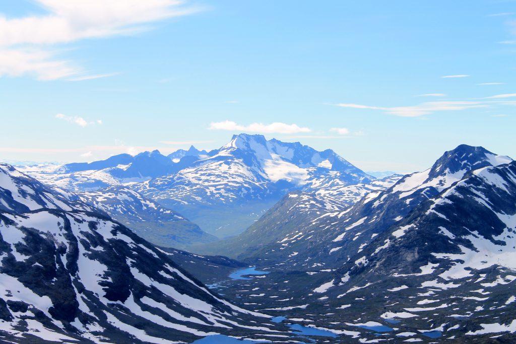Fantastisk flott utsikt mot Hurrungane fra Kyrkja i Jotunheimen.