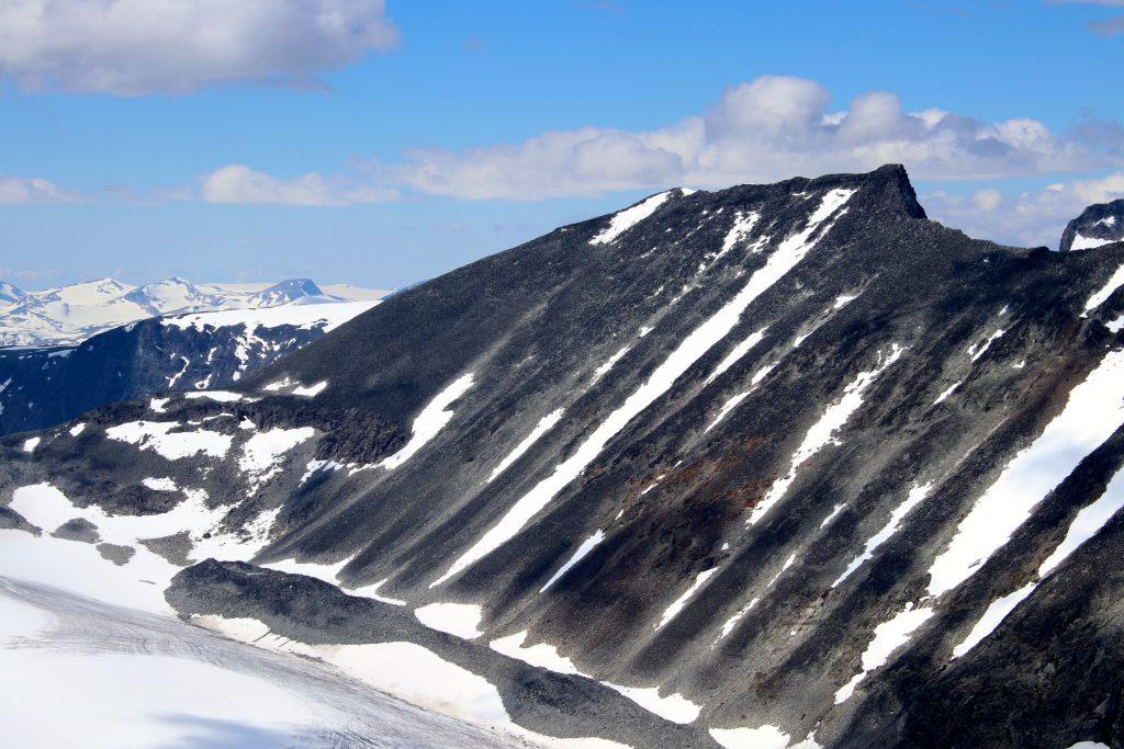 Store Tverråtinden (2.309 moh) sett fra Styggehøe.